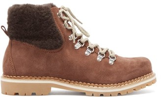 Montelliana Camelia Shearling Lined Suede Apres Ski Boots - Womens - Dark Brown