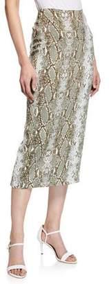 Diane von Furstenberg Kara Snake-Print Tailored Pencil Skirt