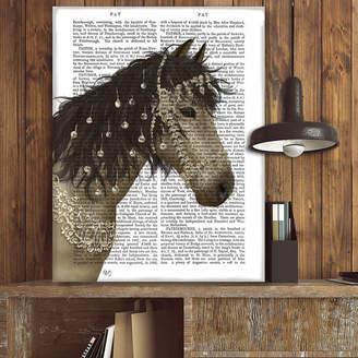 FabFunky Home Decor Buckskin Horse With Jewelled Bridle, Book Print