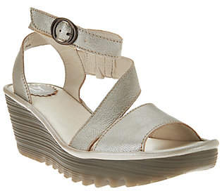 Fly London Leather Asymmetrical Strap WedgeSandals - Yesk