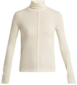 Chloé Roll Neck Ribbed Wool Sweater - Womens - Ivory