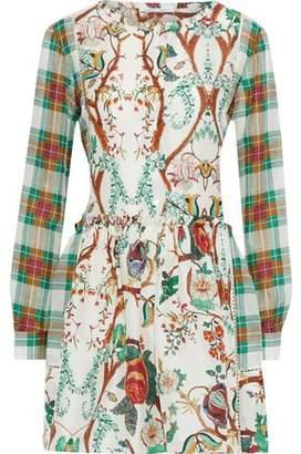 Alberta Ferretti Gathered Printed Silk Mini Dress