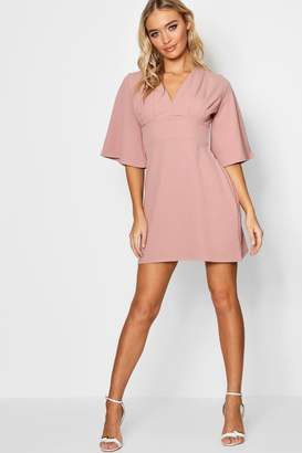 boohoo Elin Pleat Top Kimono Sleeve Skater Dress