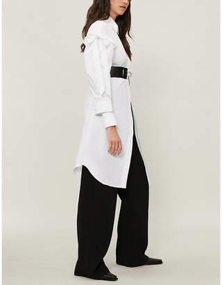 Simone Rocha Oversized ruffled cotton-poplin shirt