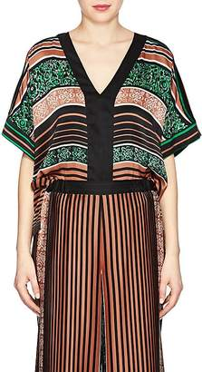 Warm Women's Tea Striped Silk Top