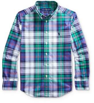 Ralph Lauren Boys' Plaid Stretch Button-Down Shirt - Big Kid
