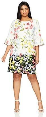 Jessica Howard Women's Plus Size Floral Bell Sleave Shift Dress