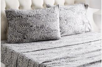 Belle Epoque Heather Zebra Flannel Sheet Set - Gray