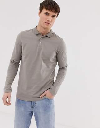 BEIGE Asos Design ASOS DESIGN long sleeve jersey polo in