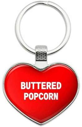 Generic Buttered Popcorn - I Love Food Metal Heart Keychain Key Chain Ring, Red