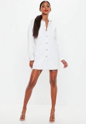 Missguided White Contrast Stitch Utility Shirt Dress