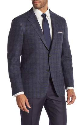 Hickey Freeman Brown Blue Plaid Two Button Notch Lapel Classic Fit Blazer