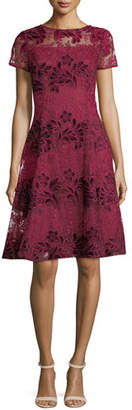 Aidan Mattox Short-Sleeve Floral Lace Cocktail Dress