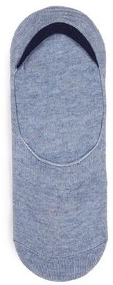 Topman Mens Blue Marl No Show Socks with Gel Pads