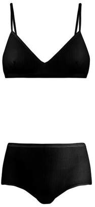 Albus Lumen - Birkin Stretch Cotton Bra And High Rise Brief Set - Womens - Black