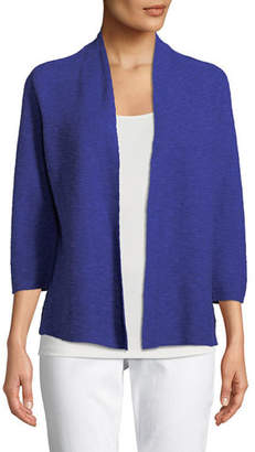 Eileen Fisher 3/4-Sleeve Slub Simple Cardigan
