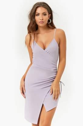 Forever 21 Textured Surplice Asymmetrical Tulip-Hem Dress