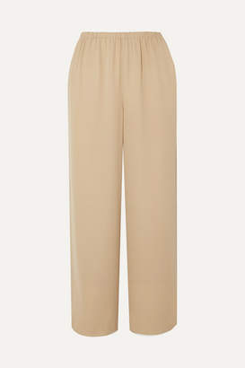 Theory Cropped Silk-crepe Straight-leg Pants - Beige