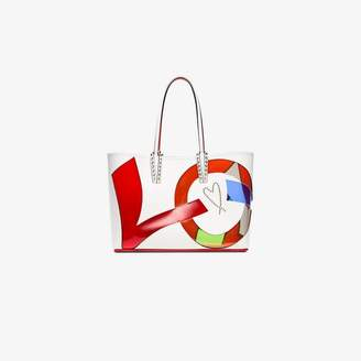 Christian Louboutin White and multicoloured leather cabata love tote bag