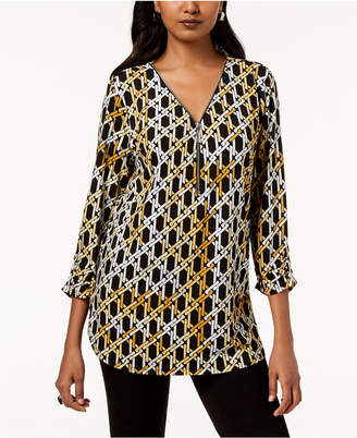 JM Collection Zip Print Top