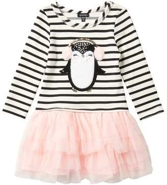 Zunie Long Sleeve Yarn Dye Stripe Faux Fur Applique Dress (Toddler & Little Girls)