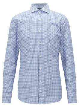BOSS Hugo  Tailored slim-fit shirt in Vichy check cotton twill 15.5 Blue