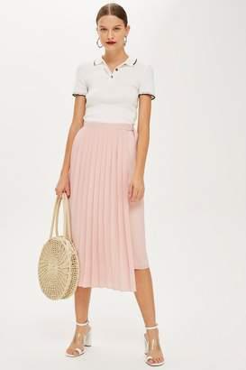 Topshop Asymmetric Pleat Midi Skirt