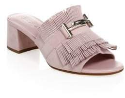 Tod's Lavender Fringed Suede Mules