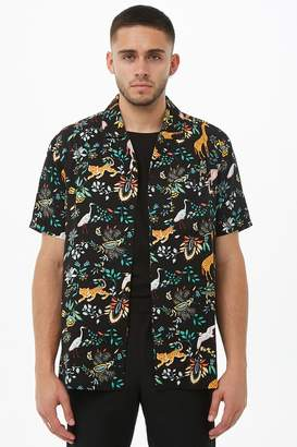Forever 21 Jungle Print Cuban Collar Shirt