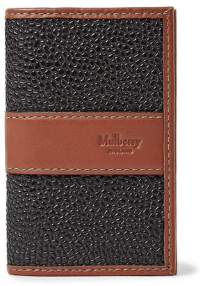 Mulberry Leather-Trimmed Pebble-Grain Coated-Canvas Cardholder - Black