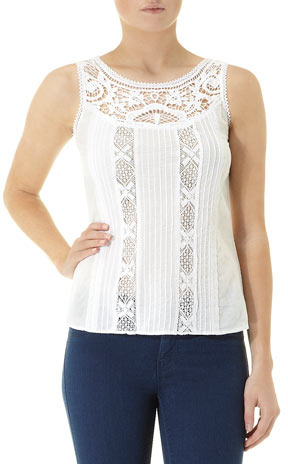 Dorothy Perkins White lace insert shell top
