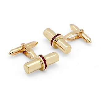 Aspinal of London Silky Barrel Cufflinks Gemset with Cluster Rubies