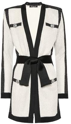 Balmain Sequined belted cardigan