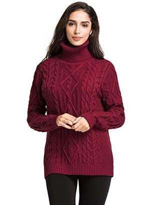 Lynz Pure Women's Turtleneck Sweater Cable Knit Tunic Sweater Pullover Tops M