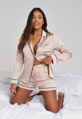Missguided Mink Satin Piping Detail Short Pyjama Set