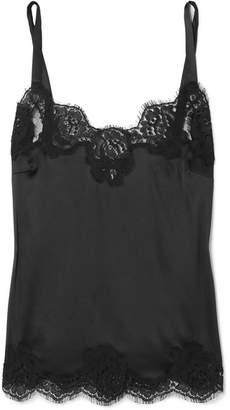 Dolce & Gabbana Lace-trimmed Silk-blend Satin Camisole - Black