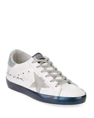 "Golden Goose Superstar ""Love Me For"" Leather Low-Top Platform Sneaker with Suede Star"