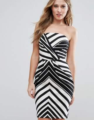 Lipsy Mono Stripe Bandeau Pencil Dress