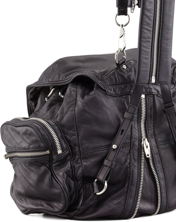 Alexander Wang Marti Washed Lambskin Backpack, Black/Nickel