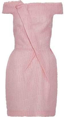 Roland Mouret Off-The-Shoulder Pleated Cloqué Mini Dress