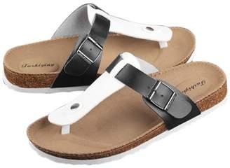 Betruststores Women Buckle T Strap Sandal Footbed Sandals Flat Platform Flip Flops Shoes