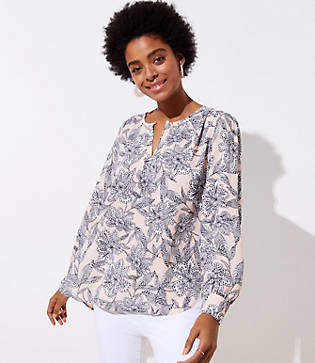 LOFT Abstract Floral Keyhole Blouse