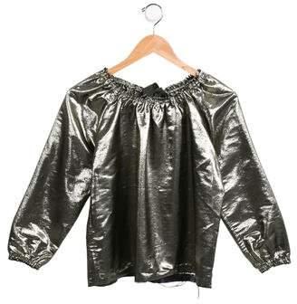 Tia Cibani Girls' Long Sleeve Metallic Top