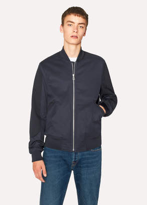 Paul Smith Men's Navy Cotton-Blend Bomber Jacket