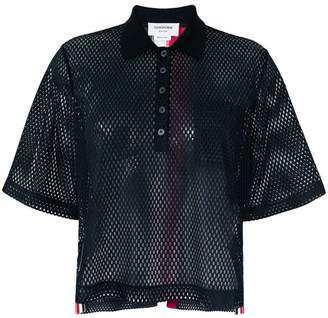Thom Browne mesh short-sleeve polo top