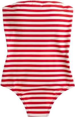 J.Crew Stripe Cross Back Bandeau One-Piece Swimsuit
