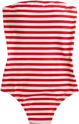1aa17e2f673 J.Crew Stripe Cross Back Bandeau One-Piece Swimsuit