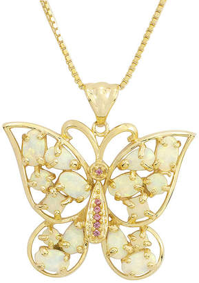 JCPenney FINE JEWELRY Lab-Created Opal and Pink Sapphire Butterfly Pendant Necklace