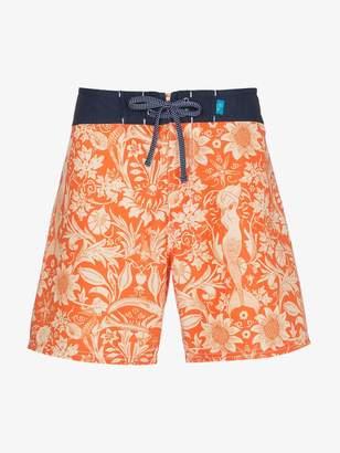 Riz Orange swim shorts with sea print