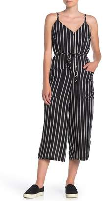 Dress Forum Striped Sleeveless Pocketed Crop Jumpsuit